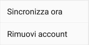 Google Android - Account - Menù Contestuale