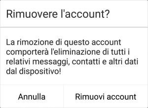 Google Android - Account - Conferma rimozione account