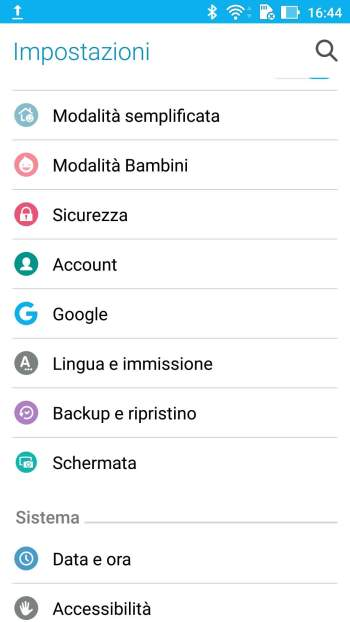 Google Android - Menù Impostazioni