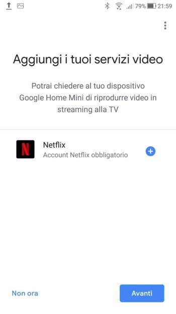 Google Home - Aggiungi servizi video