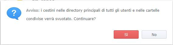 Synology - DiskStation Manager - Cartella Condivisa - Conferma cancellazione cestini