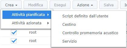 Synology - DiskStation Manager - Menù Crea