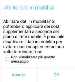 Android Oreo - Avviso Attivazione Dati