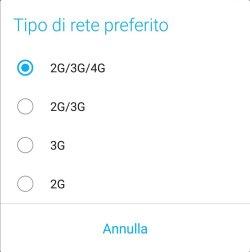 Android Oreo - Tipo di rete preferito
