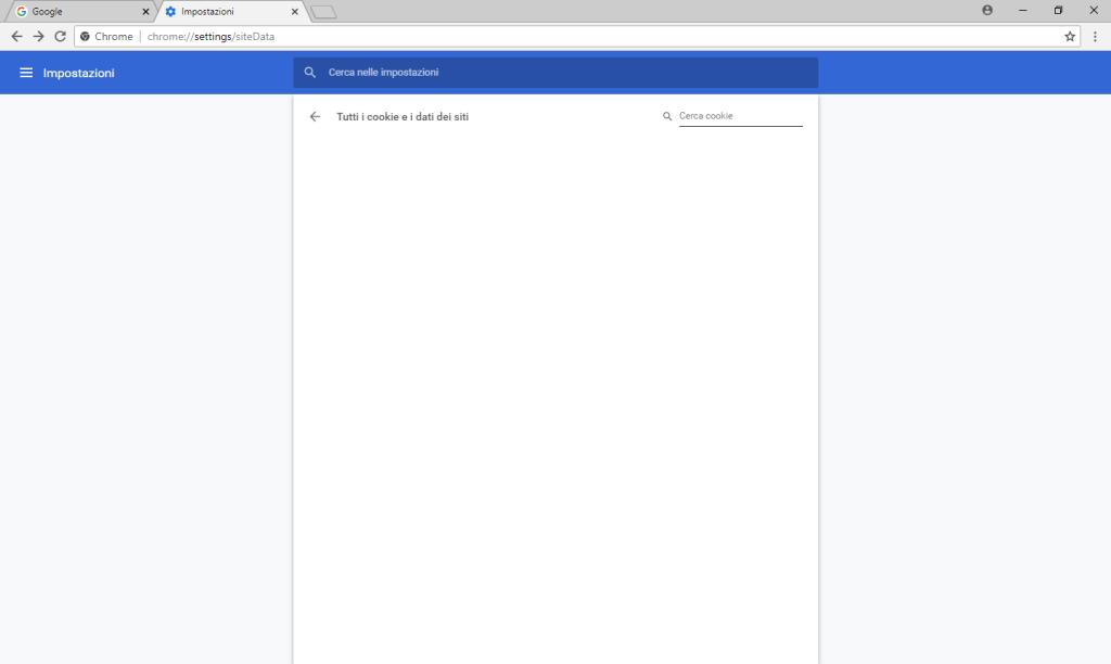 Google Chrome v68 - Scheda Impostazioni - Mostra tutti i Cookie vuota