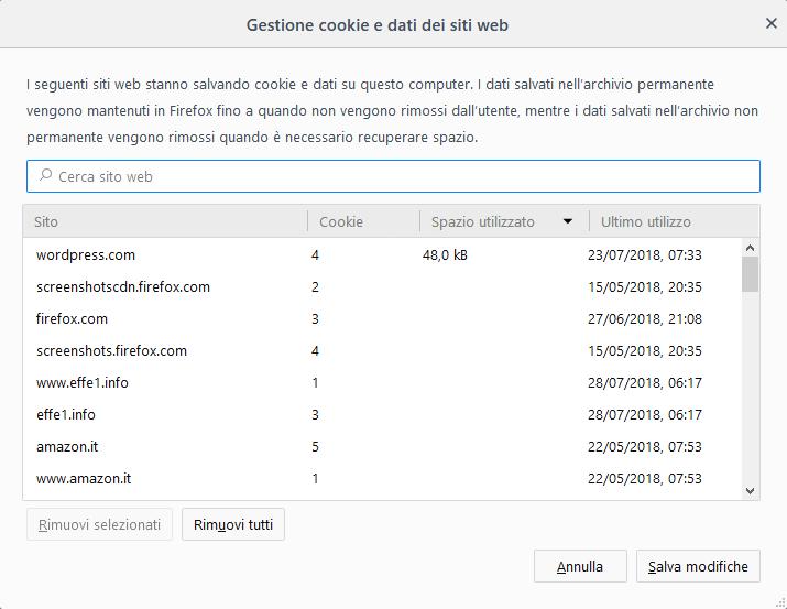 Mozilla Firefox v61 - Gestione cookie e dati dei siti web