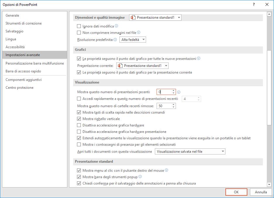 Microsoft PowerPoint 2016 - Opzioni - Impostazioni Avanzate - Visualizzazione