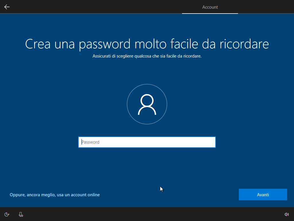 Windows 10 - v1803 - Installazione - Crea password