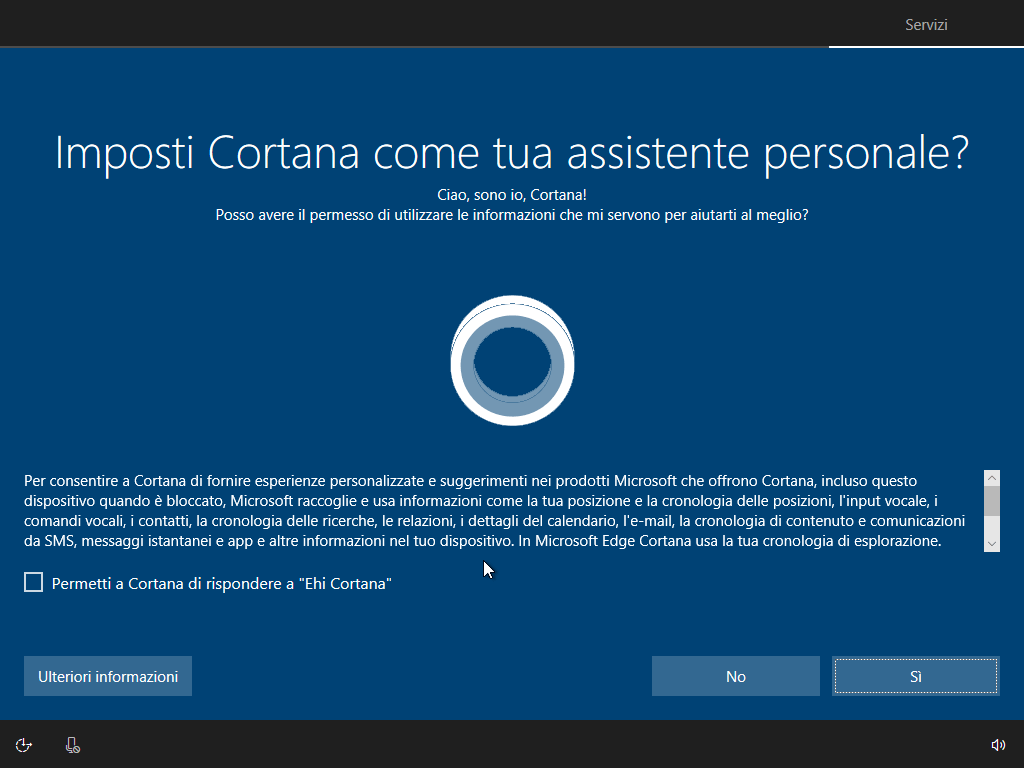 Windows 10 - v1803 - Installazione - Imposta Cortana