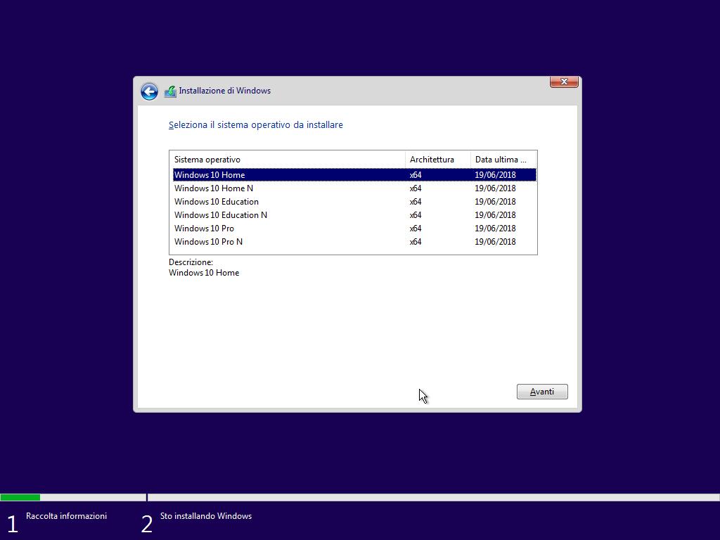 Windows 10 - v1803 - Installazione - Scelta versione