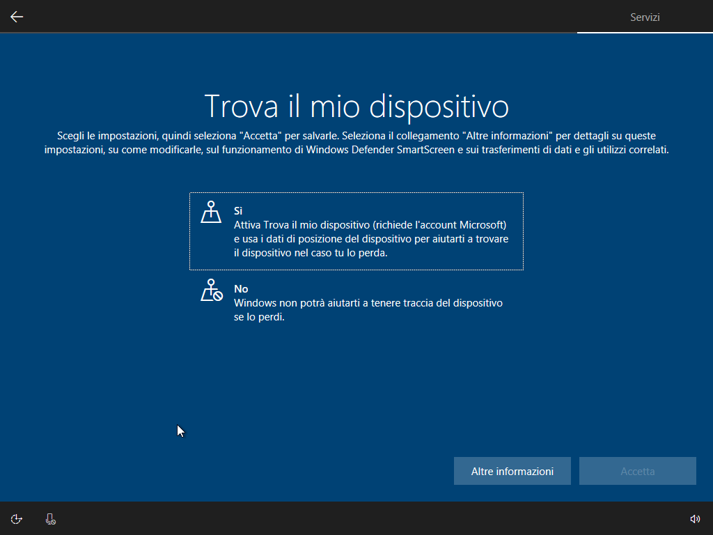 Windows 10 - v1803 - Installazione - Trova dispositivo