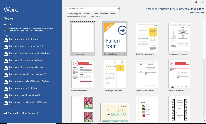 Microsoft Word 2016 - Pagina iniziale