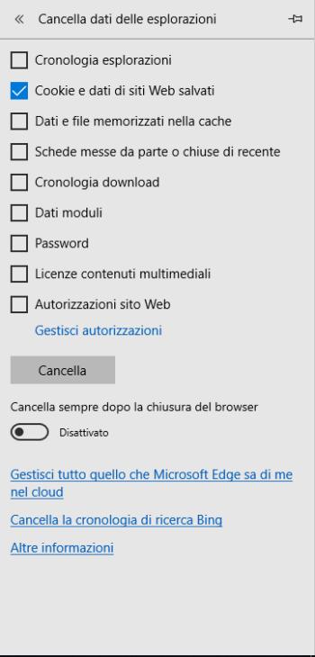 Microsoft Edge - Cancella Cookie
