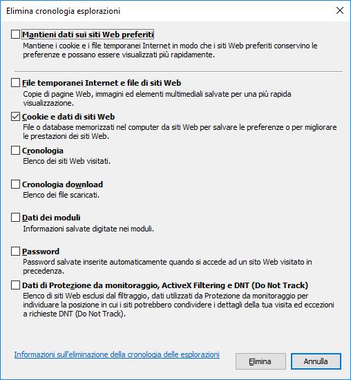 Microsoft Internet Explorer - Elimina cronologia esplorazioni - Cookie