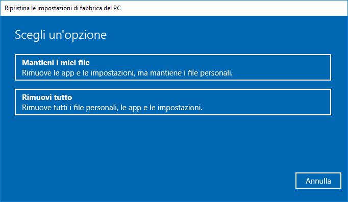 Windows 10 v1803- Opzioni ripristino PC