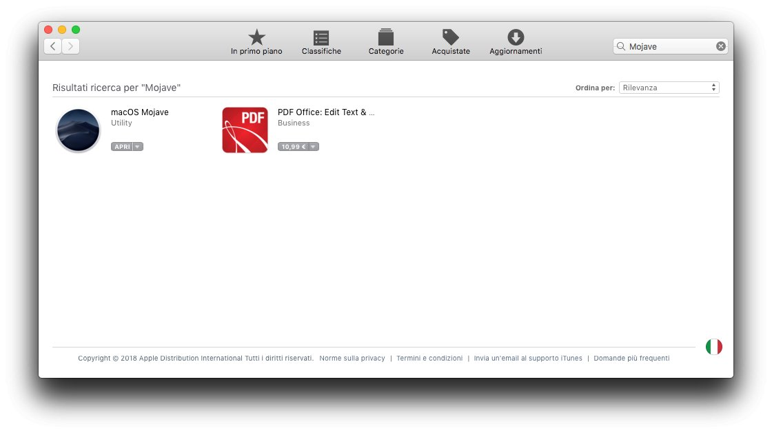 macOS 1013 - App Store -Apri Mojave