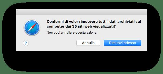 macOS - Safari - Privacy - Dati siti salvati - Rimuovi tutto - Conferma