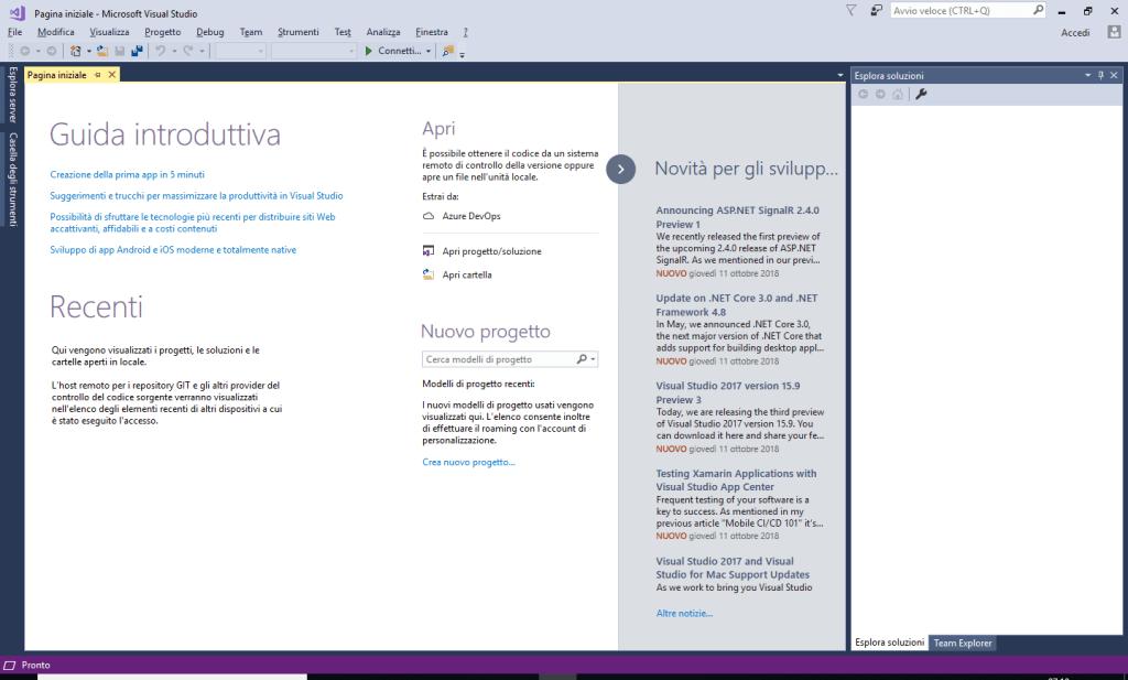 Microsoft Visual Studio 2017 Community Edition - Avviato