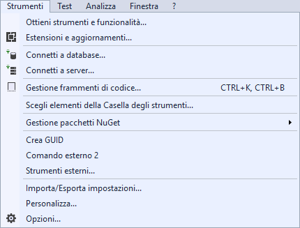 Microsoft Visual Studio 2017 - Menù Strumenti