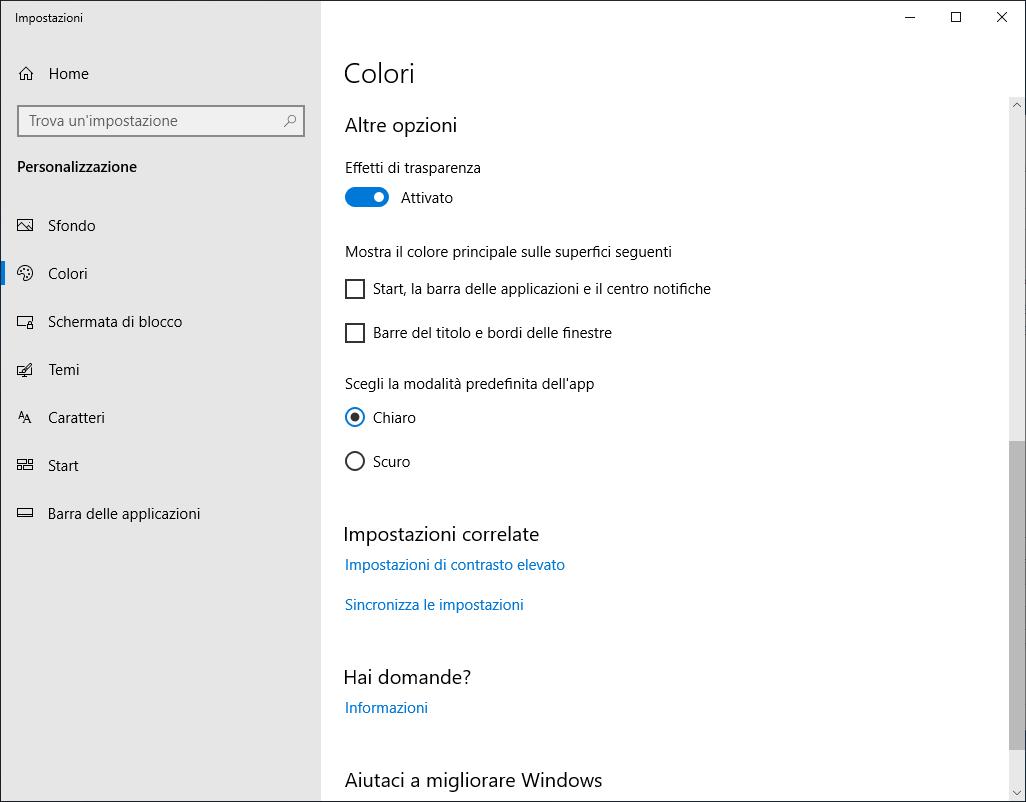 Microsoft Windows 10 - v1809 - Impostazione Colori - Altre Opzioni