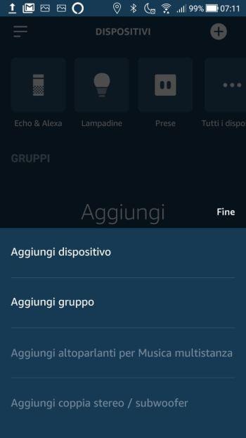 Amazon Alexa - Aggiungi dispositivo gruppo