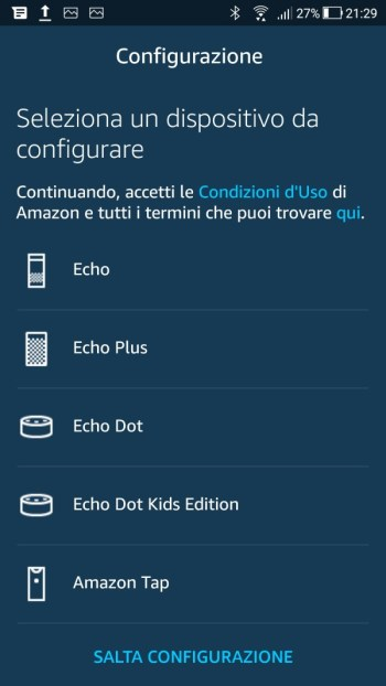 Amazon Alexa - Aggiungi dispositivo Echo