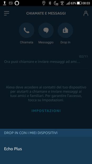 Amazon Alexa - Profilo & Impostazioni - Drop In Chiama