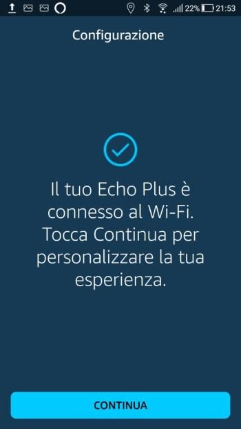Amazon Alexa - Connessione WiFi Effettuata