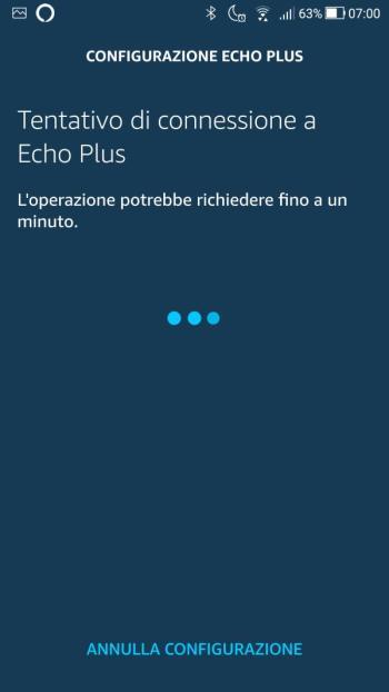 Amazon Echo - Configurazione Wi-Fi - Tentativo di connessione