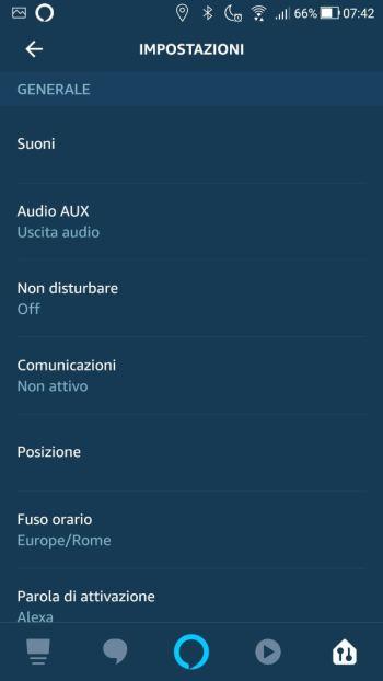 Amazon Alexa - Impostazioni - Generale