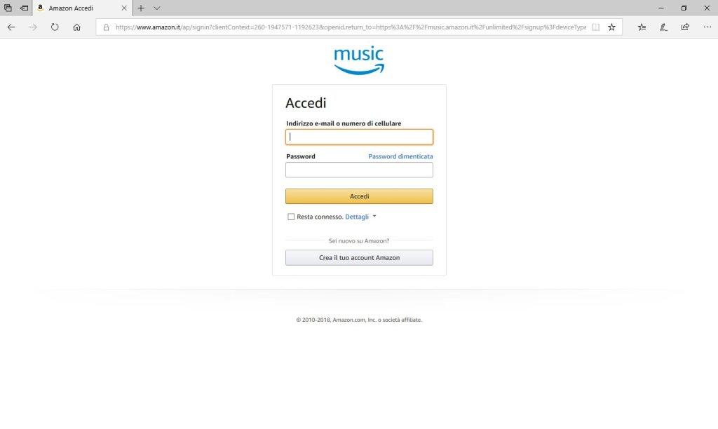 Amazon Music Unlimited - Accedi