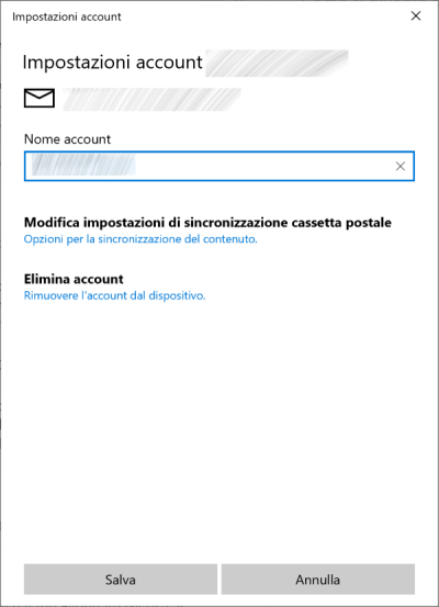 Windows 10 -Posta - Account Selezionato
