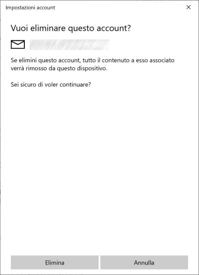 Windows 10 - Rimuovi account selezionato