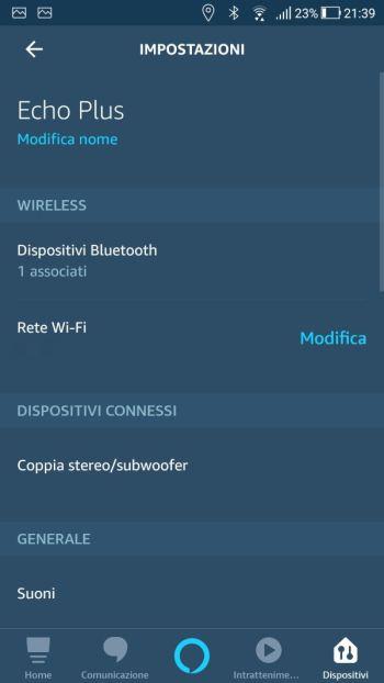 Amazon Alexa - App - Echo Plus - Impostazioni
