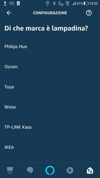 Amazon Alexa - App - Aggiungi Dispositivi - Selezione marca lampadina