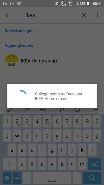 Ikea TRÅDFRI - App - Google Home - Collegamento in corso