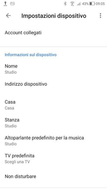 Google Home - Impostazioni Studio