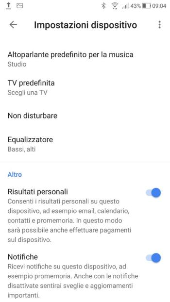 Google Home - Impostazioni Audio Studio