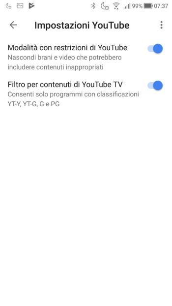 Google Home - App - Dispositivo SalottoDark - Impostazioni YouTube Abilitate