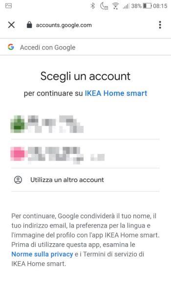 App IKEA Home Smart - Scegli account Google