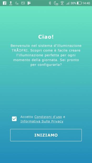 Ikea TRÅDFRI - App - Benvenuto - Spuntata privacy