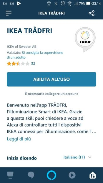 Amazon Alexa - App - Skill Ikea Tradfri - Abilita all'uso
