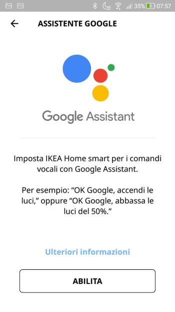 App IKEA Home Smart - Assistente Google - Abilita