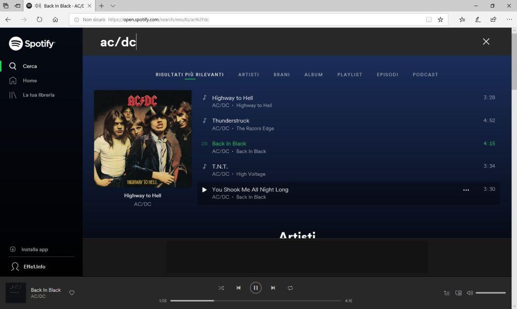 Spotify - Browser - Lettore Web - Ascolto