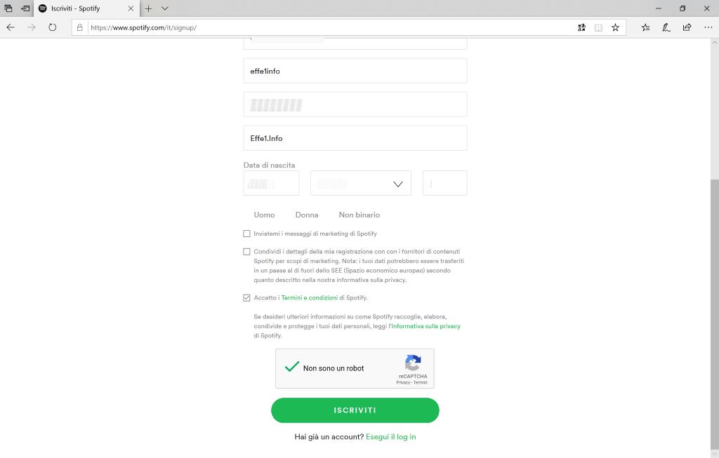 Spotify - Iscrizione - Compilato