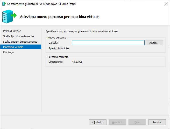 Windows 10 - Hyper-V - Seleziona nuovo percorso per macchina virtuale
