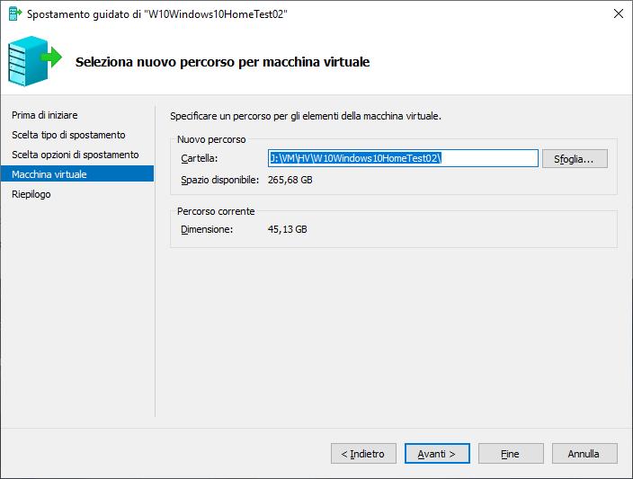 Windows 10 - Hyper-V - Cartella scelta