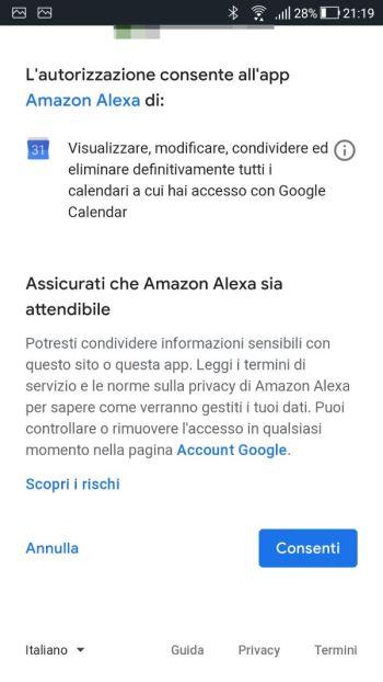 Amazon Alexa - Calendario - Account selezionato Conferma