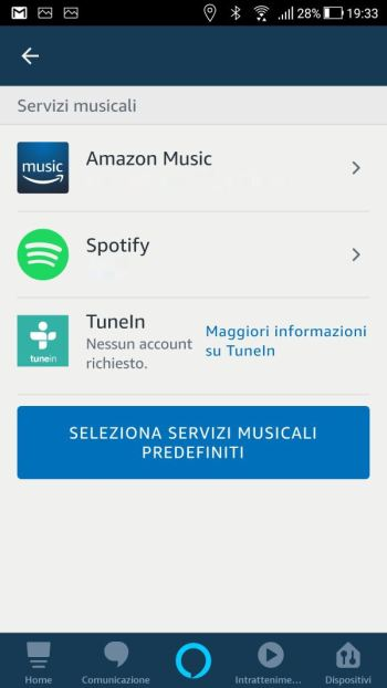 Amazon Alexa - App - Impostazioni - Musica