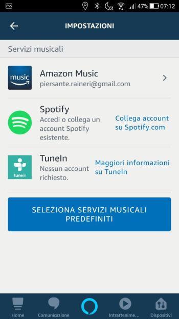 Amazon Alexa - App - Impostazioni - Musica - Spotify Scollegato